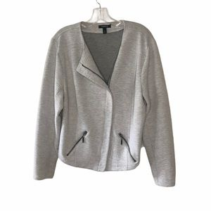 Torrid Light Gray Moto Knit Zipper Jacket 2X